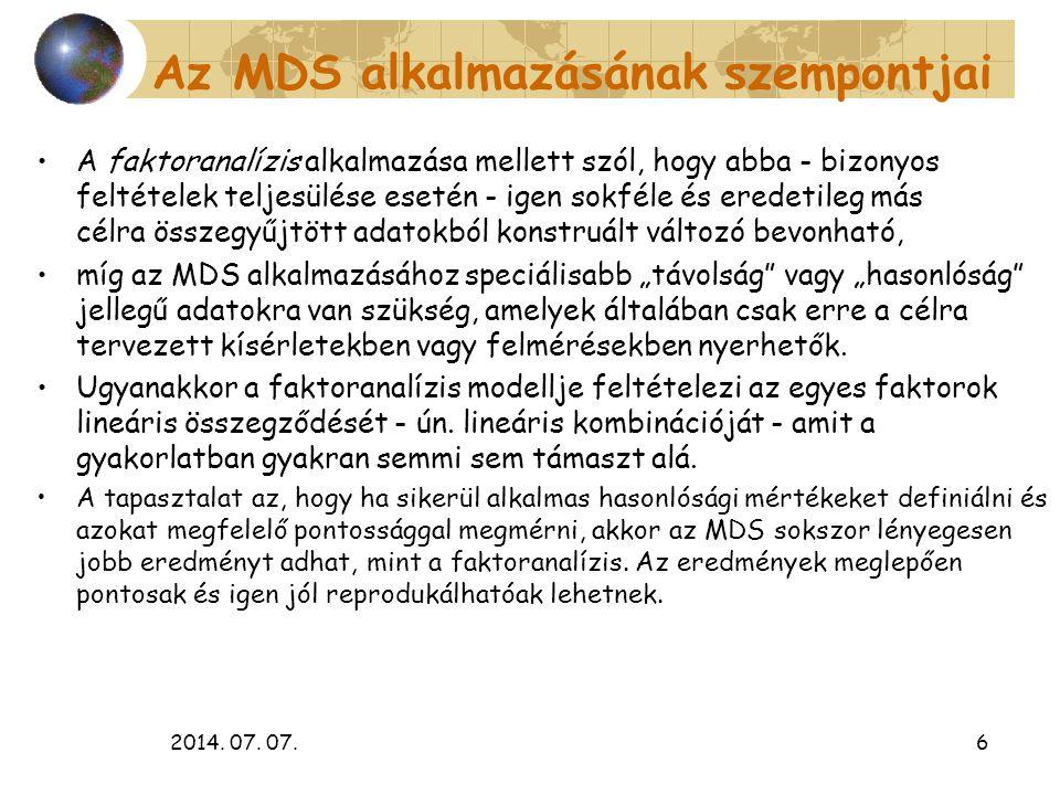 2014. 07. 07.6 Az MDS alkalmazásának szempontjai A faktoranalízis alkalmazása mellett szól, hogy abba - bizonyos feltételek teljesülése esetén - igen