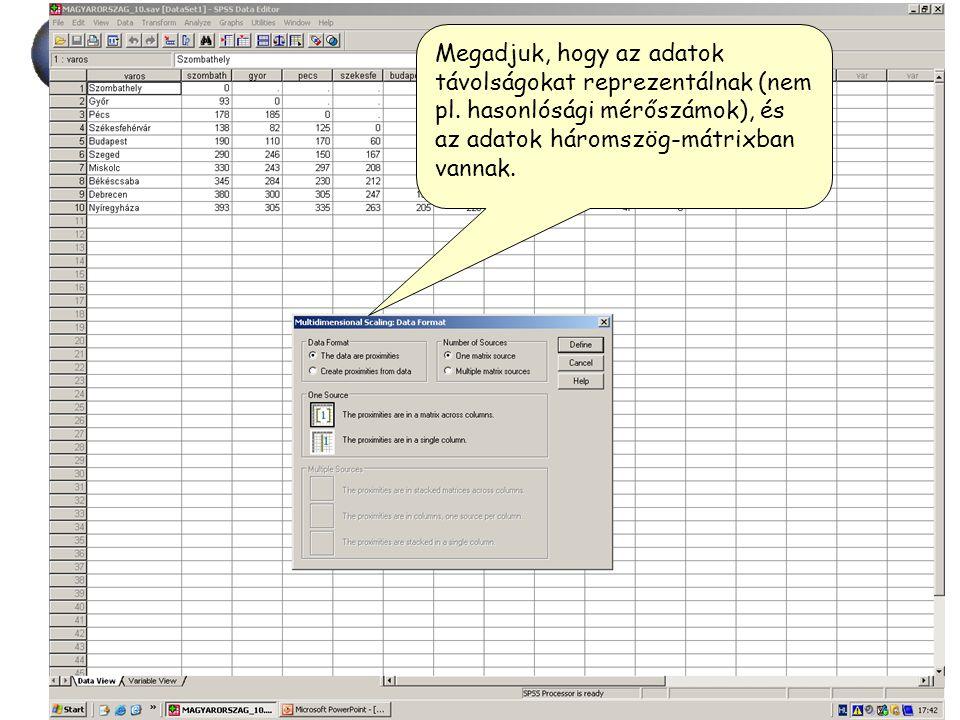 """2014. 07. 07.60 """"Térképkészítés"""" Megadjuk, hogy az adatok távolságokat reprezentálnak (nem pl. hasonlósági mérőszámok), és az adatok háromszög-mátrixb"""