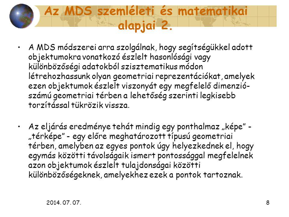 2014. 07. 07.8 Az MDS szemléleti és matematikai alapjai 2. A MDS módszerei arra szolgálnak, hogy segítségükkel adott objektumokra vonatkozó észlelt ha