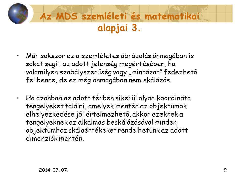 2014. 07. 07.9 Az MDS szemléleti és matematikai alapjai 3. Már sokszor ez a szemléletes ábrázolás önmagában is sokat segít az adott jelenség megértésé