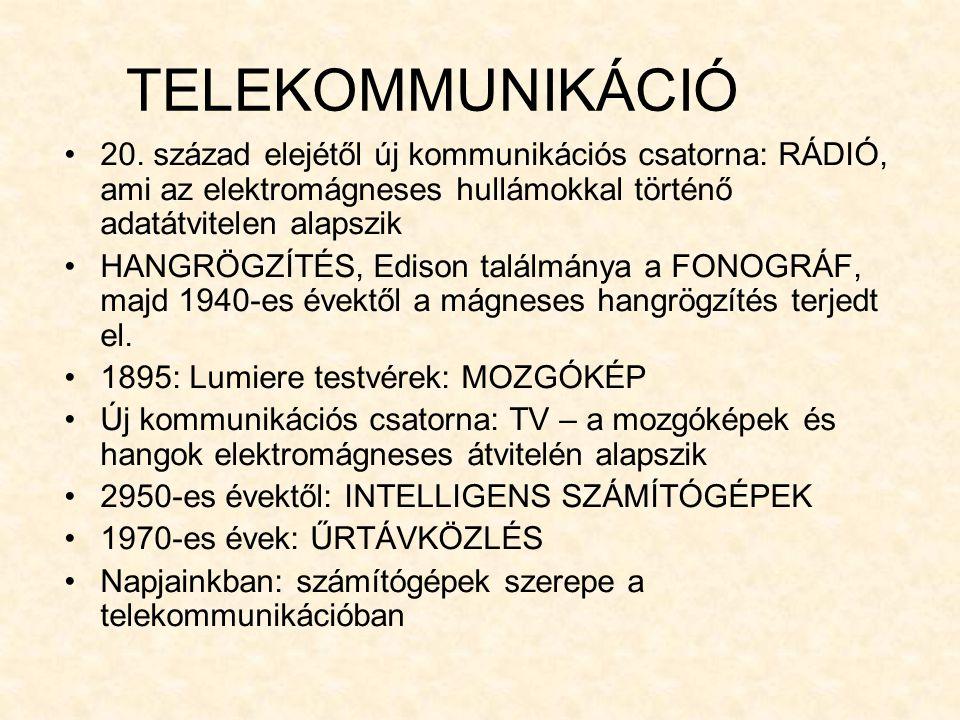 TELEKOMMUNIKÁCIÓ 20. század elejétől új kommunikációs csatorna: RÁDIÓ, ami az elektromágneses hullámokkal történő adatátvitelen alapszik HANGRÖGZÍTÉS,