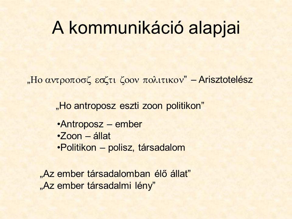 """""""  """" – Arisztotelész A kommunikáció alapjai """"Ho antroposz eszti zoon politikon"""" Antroposz – ember Zoon – állat Politikon"""