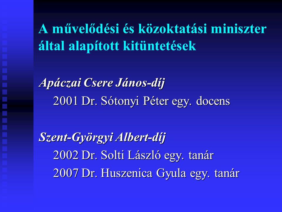 A művelődési és közoktatási miniszter által alapított kitüntetések Apáczai Csere János-díj 2001 Dr. Sótonyi Péter egy. docens Szent-Györgyi Albert-díj