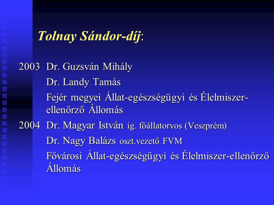 Tolnay Sándor-díj: 2003 Dr. Guzsván Mihály Dr. Landy Tamás Fejér megyei Állat-egészségügyi és Élelmiszer- ellenőrző Állomás 2004 Dr. Magyar István ig.