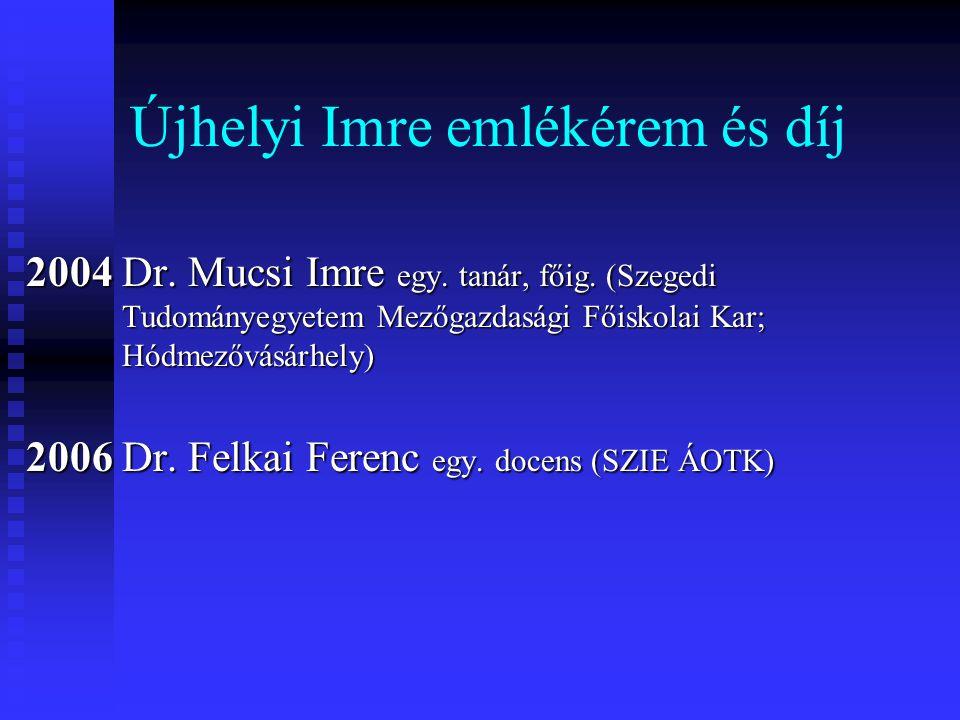 Újhelyi Imre emlékérem és díj 2004 Dr. Mucsi Imre egy. tanár, főig. (Szegedi Tudományegyetem Mezőgazdasági Főiskolai Kar; Hódmezővásárhely) 2006 Dr. F