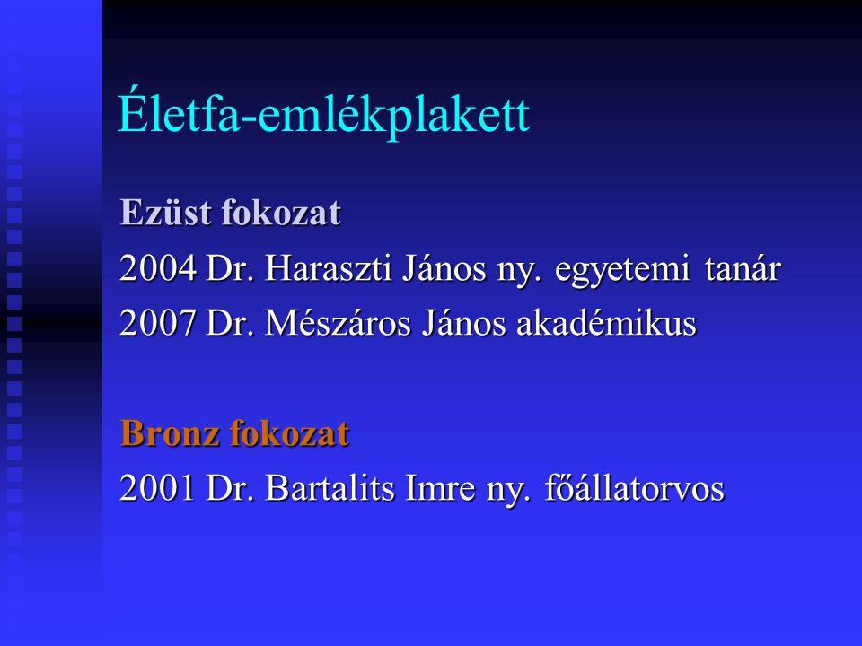 Életfa-emlékplakett Ezüst fokozat 2004 Dr. Haraszti János ny. egyetemi tanár 2007 Dr. Mészáros János akadémikus Bronz fokozat 2001 Dr. Bartalits Imre