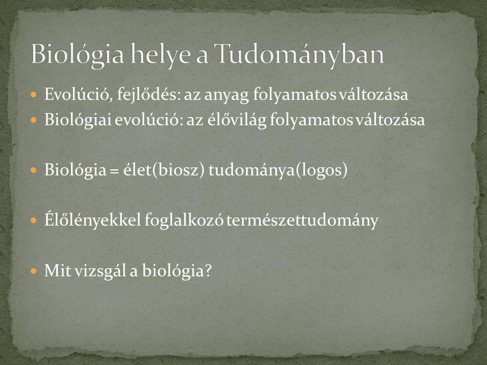 Evolúció, fejlődés: az anyag folyamatos változása Biológiai evolúció: az élővilág folyamatos változása Biológia = élet(biosz) tudománya(logos) Élőlény
