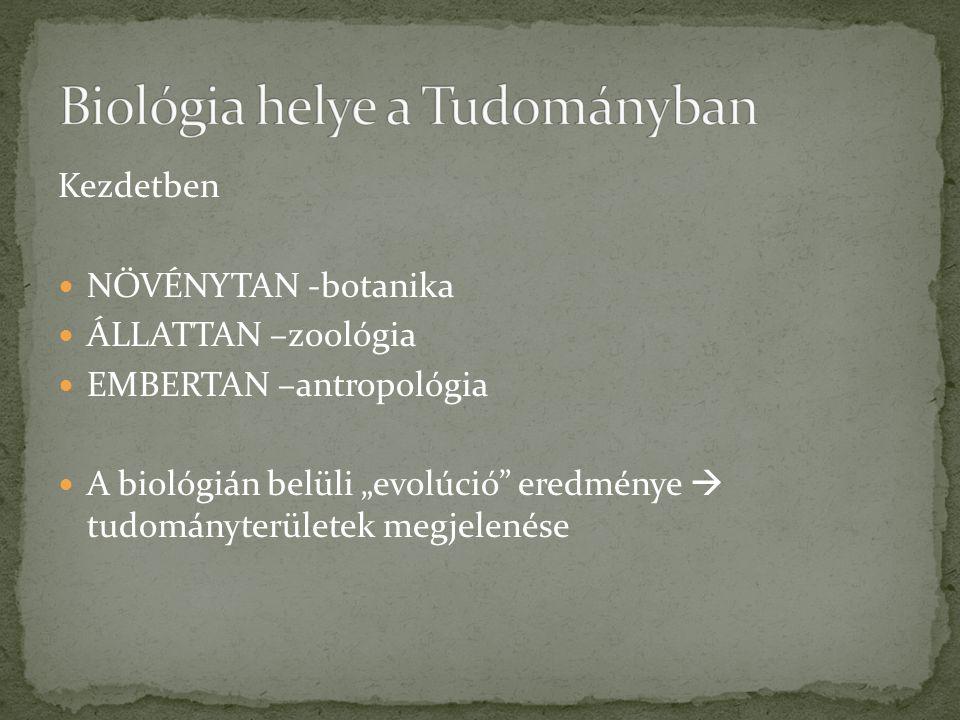 """Kezdetben NÖVÉNYTAN -botanika ÁLLATTAN –zoológia EMBERTAN –antropológia A biológián belüli """"evolúció"""" eredménye  tudományterületek megjelenése"""