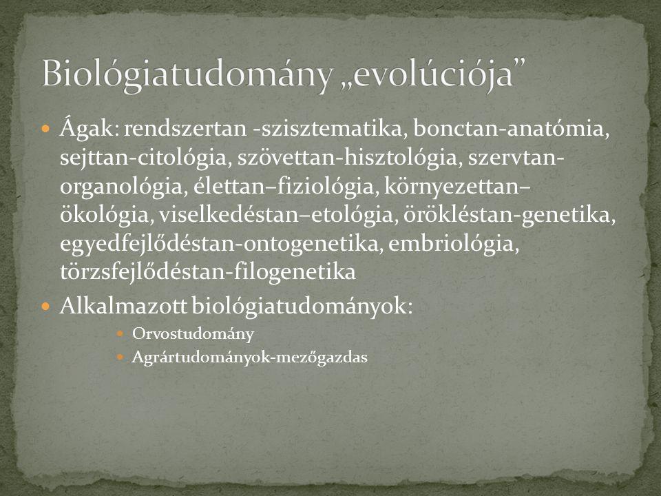 Ágak: rendszertan -szisztematika, bonctan-anatómia, sejttan-citológia, szövettan-hisztológia, szervtan- organológia, élettan–fiziológia, környezettan–