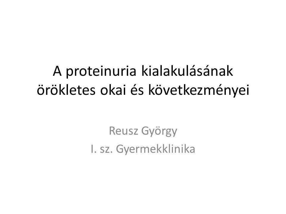 A proteinuria kialakulásának örökletes okai és következményei Reusz György I. sz. Gyermekklinika