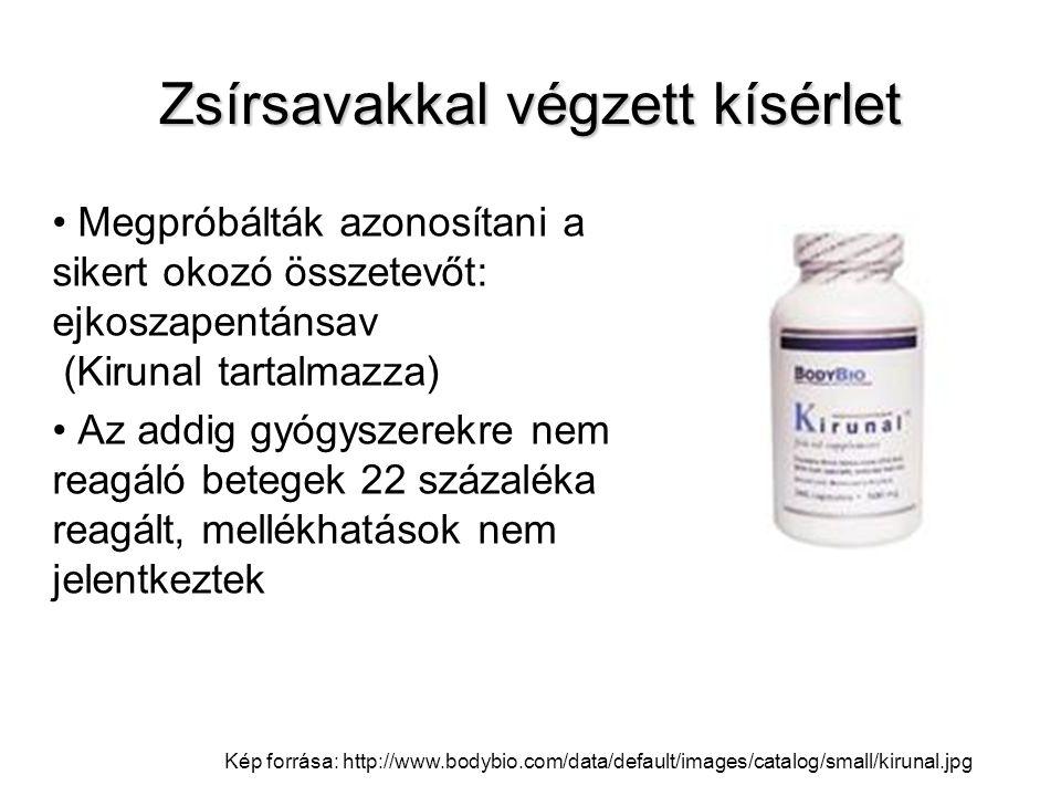 Zsírsavakkal végzett kísérlet Megpróbálták azonosítani a sikert okozó összetevőt: ejkoszapentánsav (Kirunal tartalmazza) Az addig gyógyszerekre nem re