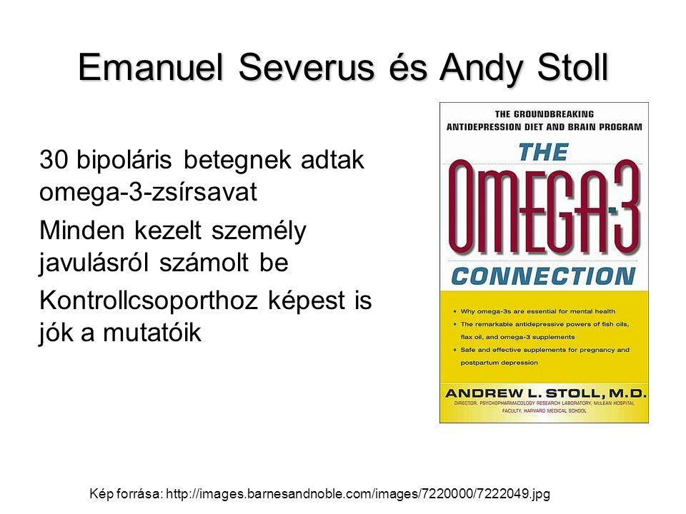 Emanuel Severus és Andy Stoll 30 bipoláris betegnek adtak omega-3-zsírsavat Minden kezelt személy javulásról számolt be Kontrollcsoporthoz képest is j