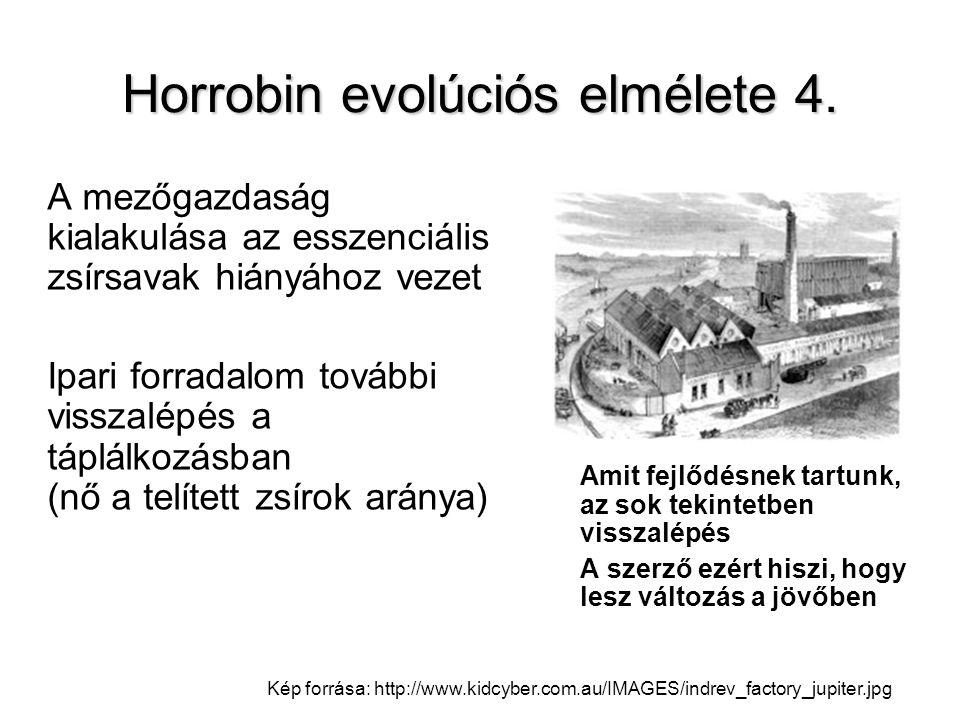 Horrobin evolúciós elmélete 4. A mezőgazdaság kialakulása az esszenciális zsírsavak hiányához vezet Ipari forradalom további visszalépés a táplálkozás