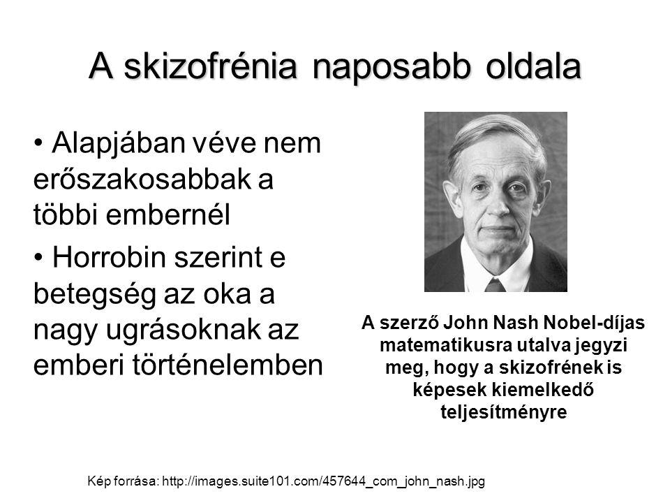 A skizofrénia naposabb oldala Alapjában véve nem erőszakosabbak a többi embernél Horrobin szerint e betegség az oka a nagy ugrásoknak az emberi történ