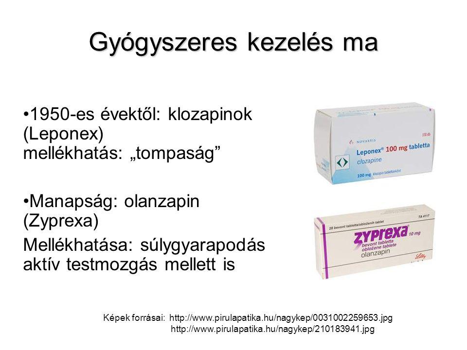 """Gyógyszeres kezelés ma 1950-es évektől: klozapinok (Leponex) mellékhatás: """"tompaság"""" Manapság: olanzapin (Zyprexa) Mellékhatása: súlygyarapodás aktív"""
