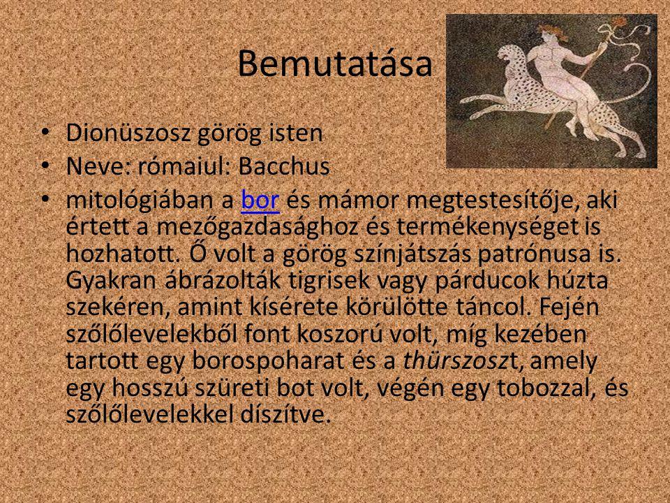 Bemutatása Dionüszosz görög isten Neve: rómaiul: Bacchus mitológiában a bor és mámor megtestesítője, aki értett a mezőgazdasághoz és termékenységet is