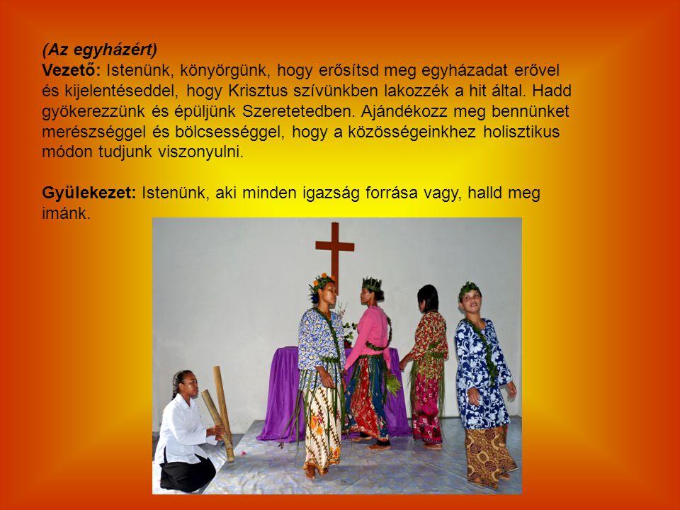 (Az egyházért) Vezető: Istenünk, könyörgünk, hogy erősítsd meg egyházadat erővel és kijelentéseddel, hogy Krisztus szívünkben lakozzék a hit által. Ha