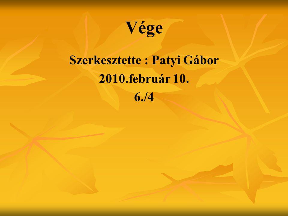 Vége Szerkesztette : Patyi Gábor 2010.február 10. 6./4