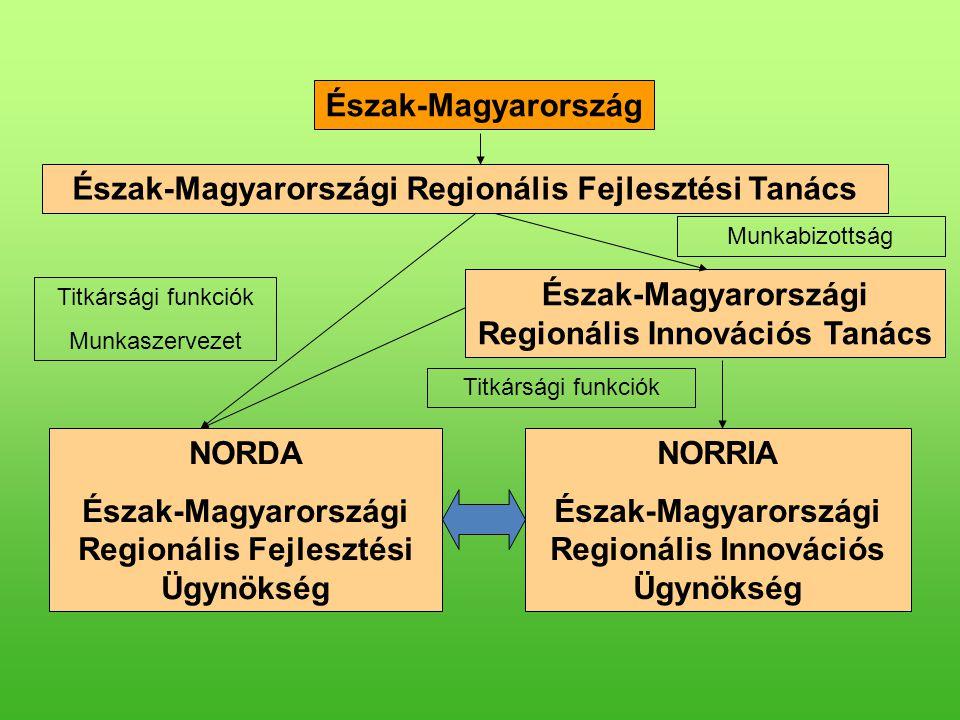Észak-Magyarország Észak-Magyarországi Regionális Innovációs Tanács NORDA Észak-Magyarországi Regionális Fejlesztési Ügynökség NORRIA Észak-Magyarországi Regionális Innovációs Ügynökség Munkabizottság Titkársági funkciók Munkaszervezet Titkársági funkciók Észak-Magyarországi Regionális Fejlesztési Tanács