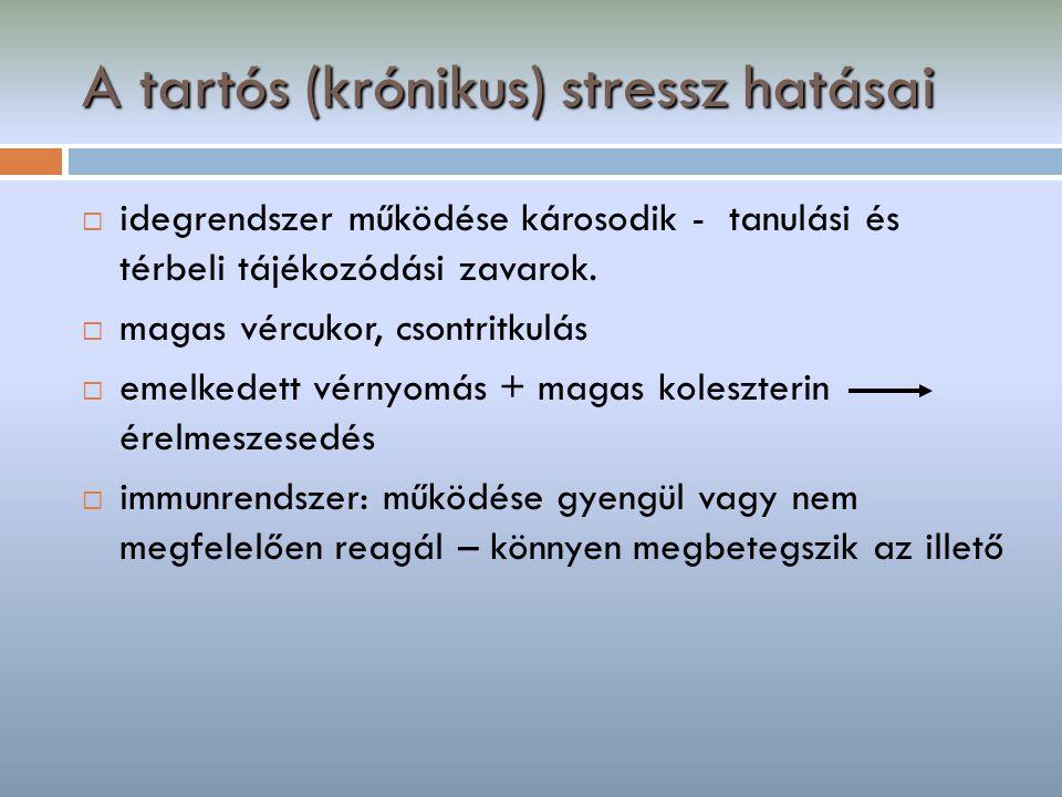 A tartós (krónikus) stressz hatásai  idegrendszer működése károsodik - tanulási és térbeli tájékozódási zavarok.  magas vércukor, csontritkulás  em