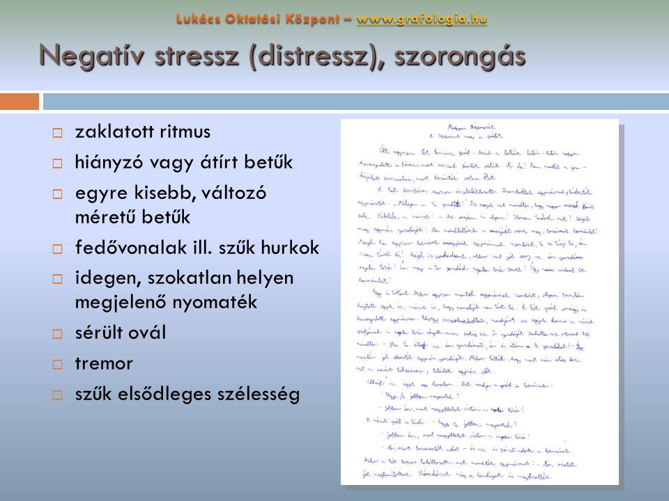 Negatív stressz (distressz), szorongás  zaklatott ritmus  hiányzó vagy átírt betűk  egyre kisebb, változó méretű betűk  fedővonalak ill. szűk hurk