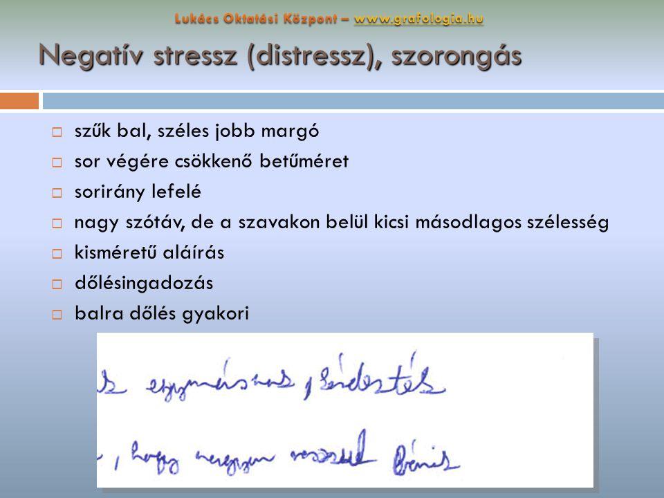 Negatív stressz (distressz), szorongás  szűk bal, széles jobb margó  sor végére csökkenő betűméret  sorirány lefelé  nagy szótáv, de a szavakon be