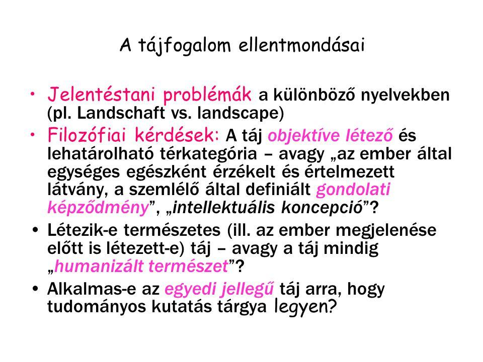 A tájfogalom ellentmondásai Jelentéstani problémák a különböző nyelvekben (pl.