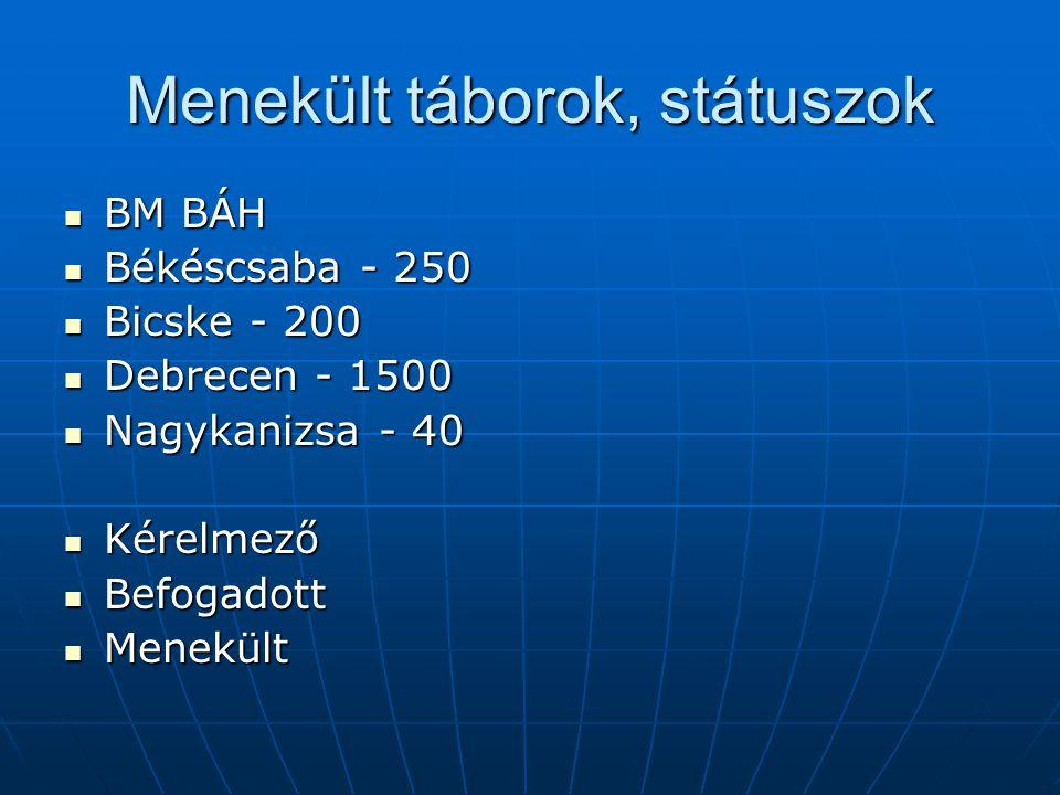Menekült táborok, státuszok BM BÁH BM BÁH Békéscsaba - 250 Békéscsaba - 250 Bicske - 200 Bicske - 200 Debrecen - 1500 Debrecen - 1500 Nagykanizsa - 40