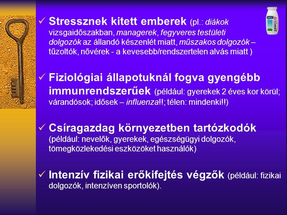 Stressznek kitett emberek (pl.: diákok vizsgaidőszakban, managerek, fegyveres testületi dolgozók az állandó készenlét miatt, műszakos dolgozók – tűzol