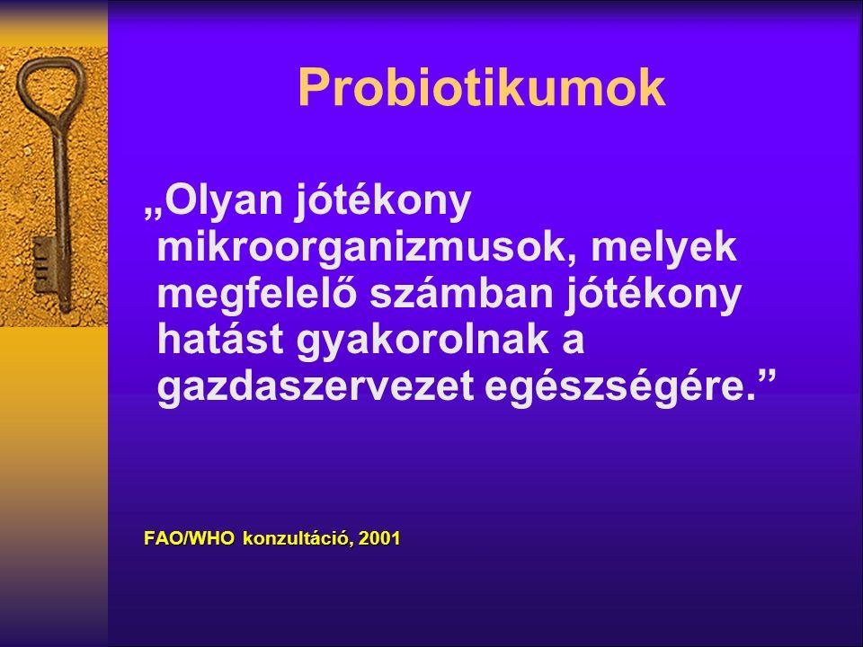 """Probiotikumok """"Olyan jótékony mikroorganizmusok, melyek megfelelő számban jótékony hatást gyakorolnak a gazdaszervezet egészségére."""" FAO/WHO konzultác"""