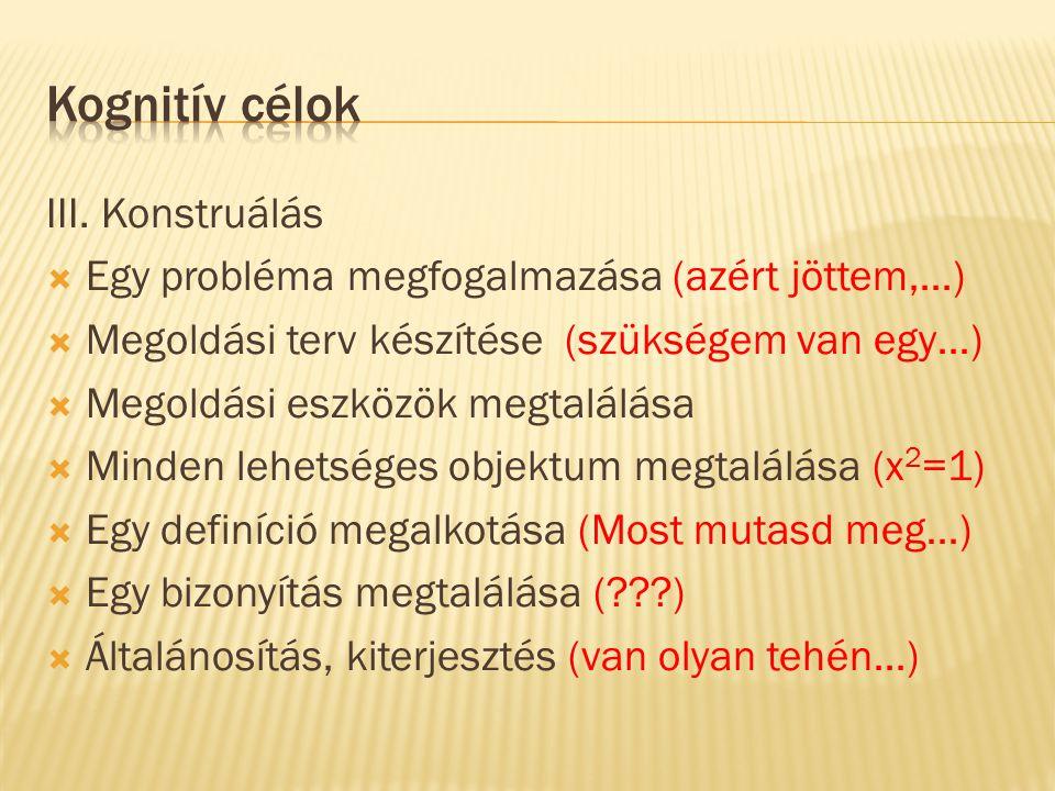 III. Konstruálás  Egy probléma megfogalmazása (azért jöttem,…)  Megoldási terv készítése (szükségem van egy…)  Megoldási eszközök megtalálása  Min