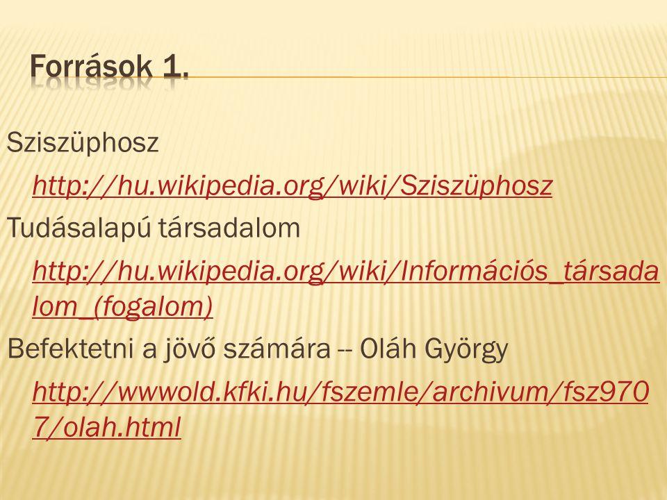 Sziszüphosz http://hu.wikipedia.org/wiki/Sziszüphosz Tudásalapú társadalom http://hu.wikipedia.org/wiki/Információs_társada lom_(fogalom) Befektetni a jövő számára -- Oláh György http://wwwold.kfki.hu/fszemle/archivum/fsz970 7/olah.html