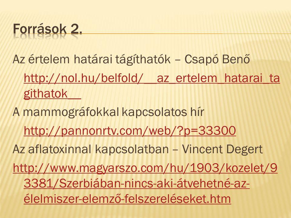 Az értelem határai tágíthatók – Csapó Benő http://nol.hu/belfold/__az_ertelem_hatarai_ta githatok__ A mammográfokkal kapcsolatos hír http://pannonrtv.com/web/ p=33300 Az aflatoxinnal kapcsolatban – Vincent Degert http://www.magyarszo.com/hu/1903/kozelet/9 3381/Szerbiában-nincs-aki-átvehetné-az- élelmiszer-elemző-felszereléseket.htm