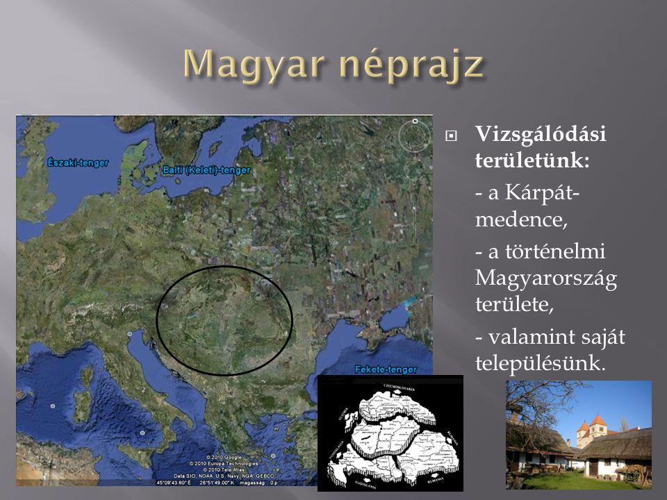  Vizsgálódási területünk: - a Kárpát- medence, - a történelmi Magyarország területe, - valamint saját településünk.