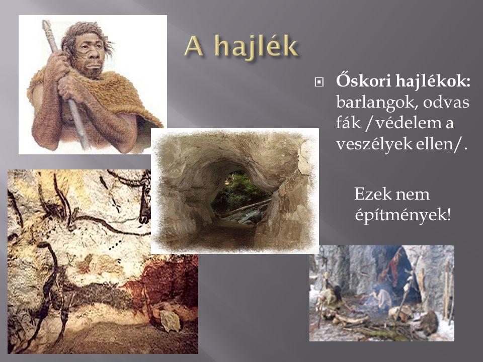  Őskori hajlékok: barlangok, odvas fák /védelem a veszélyek ellen/. Ezek nem építmények!