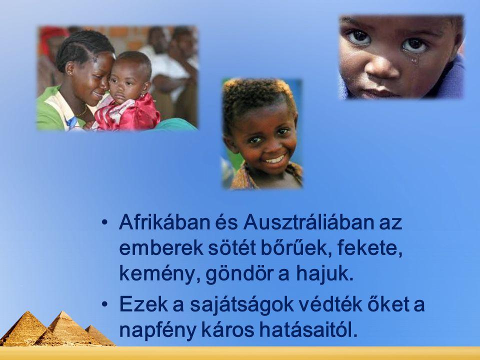 Afrikában és Ausztráliában az emberek sötét bőrűek, fekete, kemény, göndör a hajuk. Ezek a sajátságok védték őket a napfény káros hatásaitól.