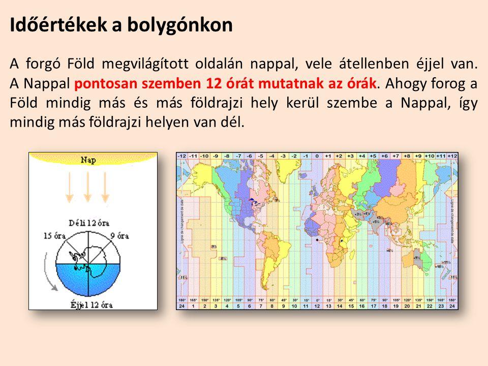 Időértékek a bolygónkon A forgó Föld megvilágított oldalán nappal, vele átellenben éjjel van. A Nappal pontosan szemben 12 órát mutatnak az órák. Ahog