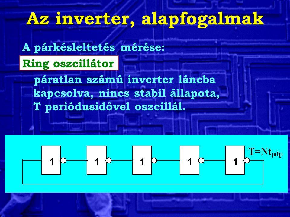 A párkésleltetés mérése: Ring oszcillátor páratlan számú inverter láncba kapcsolva, nincs stabil állapota, T periódusidővel oszcillál.