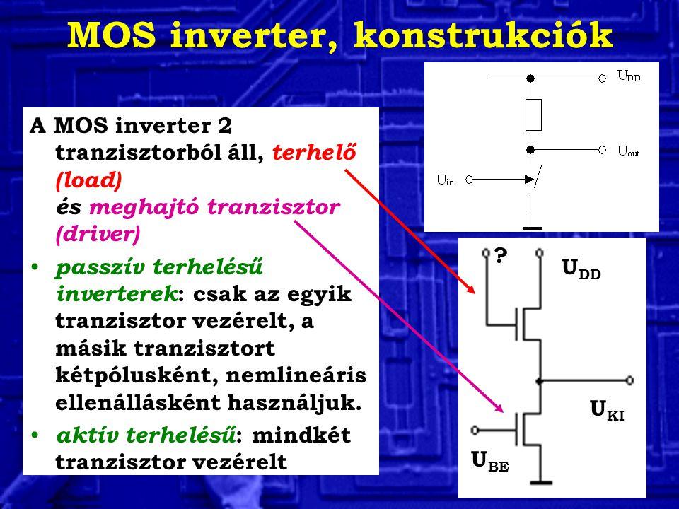 MOS inverter, konstrukciók A MOS inverter 2 tranzisztorból áll, terhelő (load) és meghajtó tranzisztor (driver) passzív terhelésű inverterek : csak az