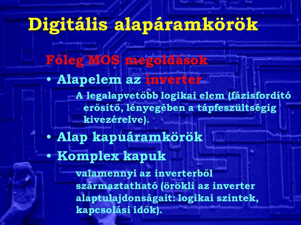 Digitális alapáramkörök Főleg MOS megoldások Alapelem az inverter A legalapvetőbb logikai elem (fázisfordító erősítő, lényegében a tápfeszültségig kiv