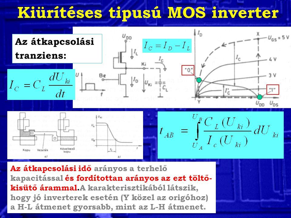 Kiürítéses tipusú MOS inverter Az átkapcsolási tranziens: Az átkapcsolási idő arányos a terhelő kapacitással és fordítottan arányos az ezt töltő- kisütő árammal.A karakterisztikából látszik, hogy jó inverterek esetén (Y közel az origóhoz) a H-L átmenet gyorsabb, mint az L-H átmenet.