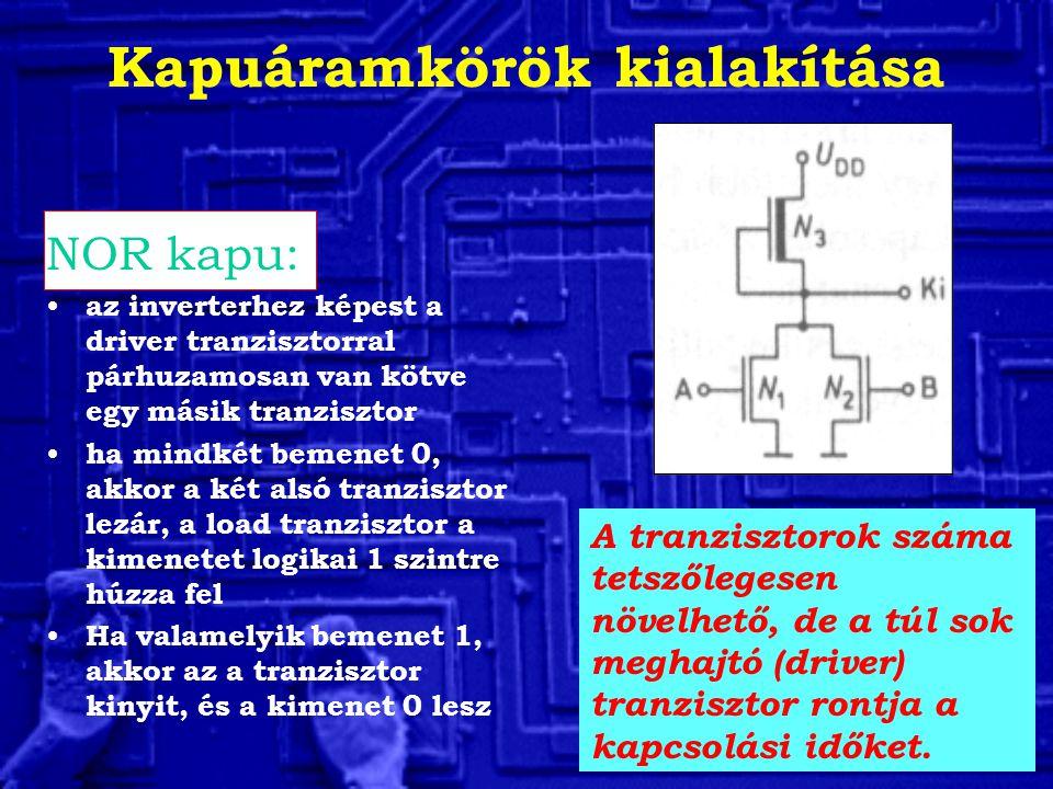 Kapuáramkörök kialakítása NOR kapu: az inverterhez képest a driver tranzisztorral párhuzamosan van kötve egy másik tranzisztor ha mindkét bemenet 0, a