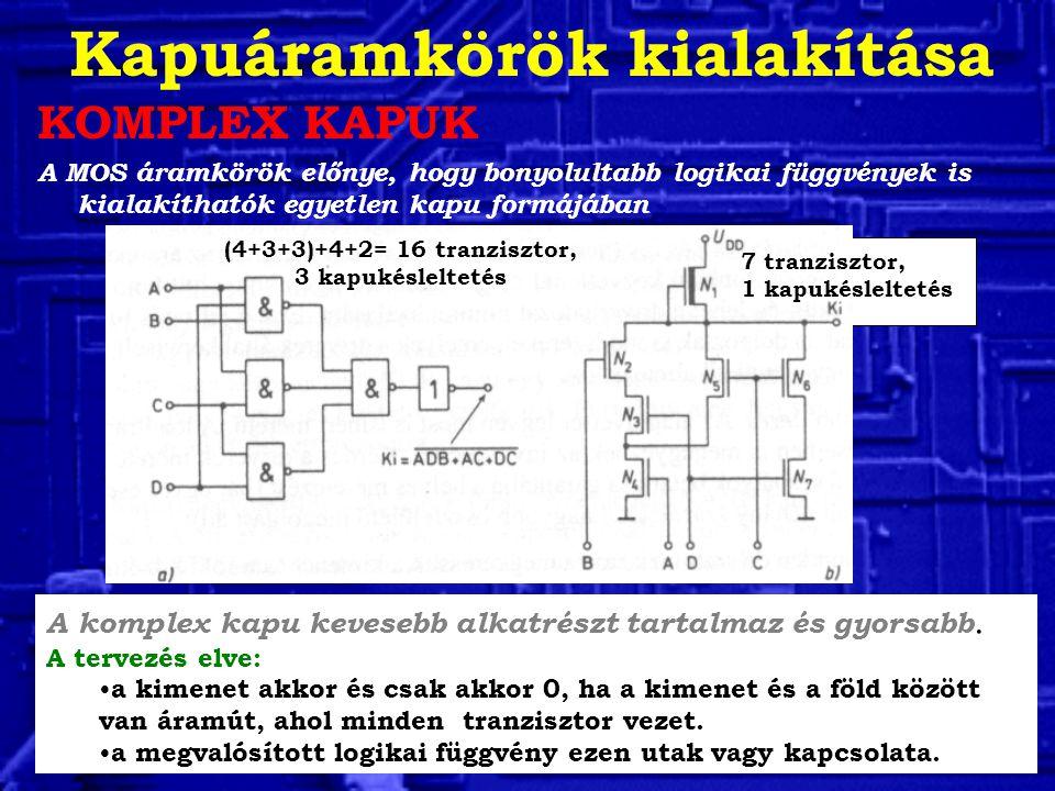 Kapuáramkörök kialakítása KOMPLEX KAPUK A MOS áramkörök előnye, hogy bonyolultabb logikai függvények is kialakíthatók egyetlen kapu formájában A kompl