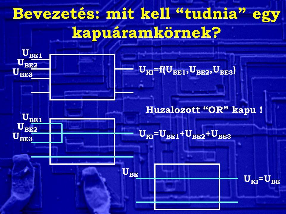 """Bevezetés: mit kell """"tudnia"""" egy kapuáramkörnek? U BE2 U BE1 U BE3 U KI =f(U BE1,U BE2,U BE3 ) U BE2 U BE1 U BE3 U KI =U BE1 +U BE2 +U BE3 U BE U KI ="""