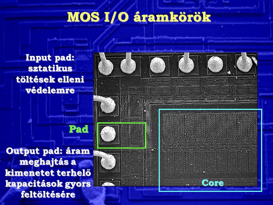 MOS I/O áramkörök Core Pad Input pad: sztatikus töltések elleni védelemre Output pad: áram meghajtás a kimenetet terhelő kapacitások gyors feltöltésér