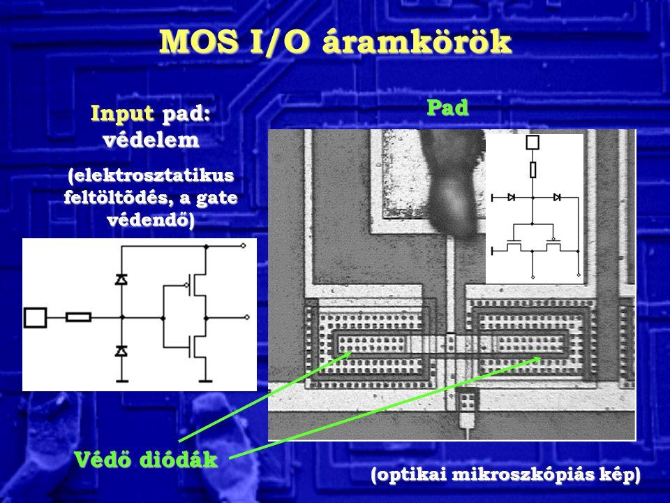 MOS I/O áramkörök Pad Input pad: védelem (elektrosztatikus feltöltõdés, a gate védendő) Védő diódák (optikai mikroszkópiás kép)