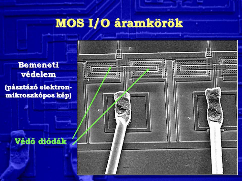 MOS I/O áramkörök Bemeneti védelem (pásztázó elektron- mikroszkópos kép) Védő diódák