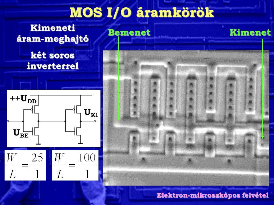 MOS I/O áramkörök Kimeneti áram-meghajtó két soros inverterrel BemenetKimenet Elektron-mikroszkópos felvétel U BE U Ki ++U DD