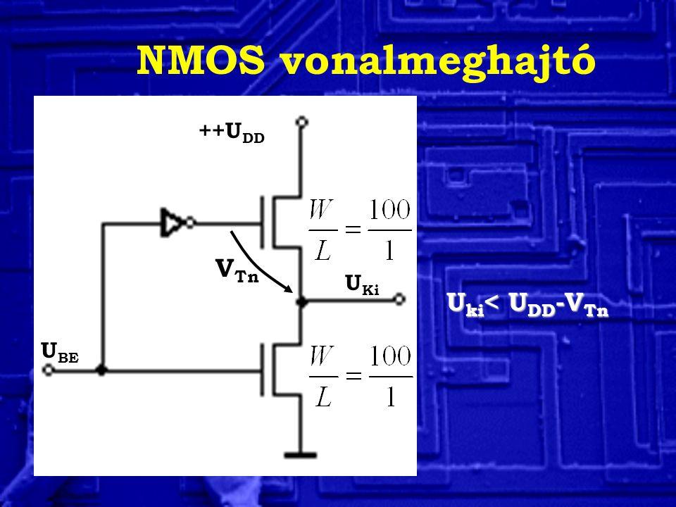 NMOS vonalmeghajtó U BE U Ki ++U DD V Tn U ki < U DD -V Tn