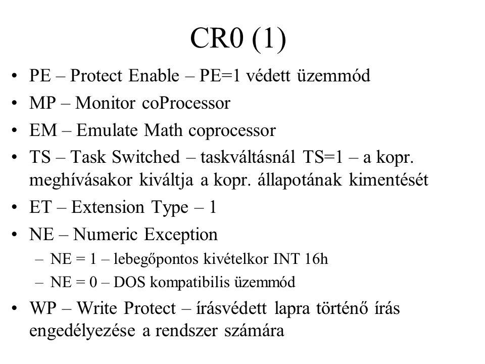 CR0 (1) PE – Protect Enable – PE=1 védett üzemmód MP – Monitor coProcessor EM – Emulate Math coprocessor TS – Task Switched – taskváltásnál TS=1 – a kopr.